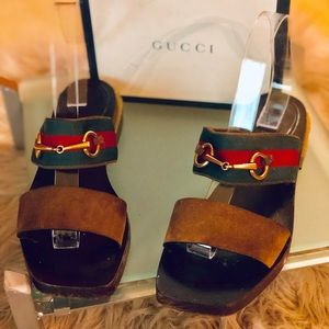 Gucci Flat Sandal with Bamboo Heel